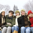 Group of friends outside in winter — Stock Photo #4718533