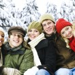 Group of friends outside in winter — Stock Photo #4718535