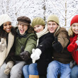Group of friends outside in winter — Stock Photo #4718539