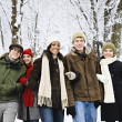 Group of friends outside in winter — Stock Photo #4718541