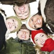 Group of friends outside in winter - Stockfoto