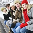 Stock Photo: Group of friends outside in winter