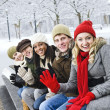 Group of friends outside in winter — Stock Photo #4718557