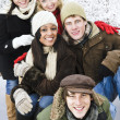 Group of friends outside in winter — Stock Photo #4718561