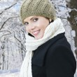 Happy woman outside in winter — Stock Photo