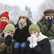 Group of friends with colds outside in winter - Stock Photo