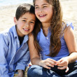 Stock Photo: Brother and sister at beach