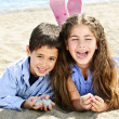 Brother and sister at beach — Stock Photo #4718618