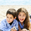 Brother and sister at beach — Stock Photo #4718619