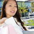 Asian woman shopping - Stock Photo
