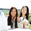 Girlfriends having coffee — Stock Photo