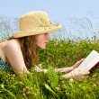 Young girl reading book in meadow — Stock Photo #4718858