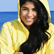 Beautiful young woman in raincoat — Stock fotografie