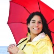 Beautiful young woman in raincoat with umbrella — Stock Photo #4719011