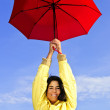 Beautiful young woman in raincoat with umbrella — Stock Photo