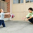 Father and son playing soccer — Stock Photo #4719077