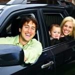 Happy family in car — Stock Photo