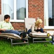 Happy family relaxing at home — Stock Photo #4719112