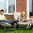 Happy family relaxing at home — Stock Photo
