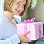 Teenage girl with present — Stock Photo #4719319