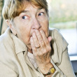 Scared elderly woman — Stock Photo
