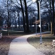 Stock Photo: Park path at dusk