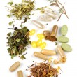 Stock Photo: Herbal supplement pills