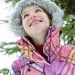 Happy young girl in winter jacket — Stock Photo