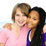 Happy teenage girlfriends — Stock Photo