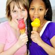 Girls having ice cream — Stock Photo