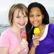 Girls having ice cream — Stock Photo