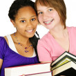 Girls holding text books — Stok fotoğraf