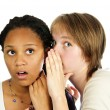 Two girlfriends gossiping — Stock Photo