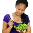 Girl having salad — Stok fotoğraf