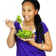 Girl having salad — Stockfoto