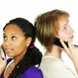 Teen girls with mobile phones — Stockfoto #4719684
