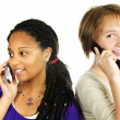 Teen girls with mobile phones — Stock Photo #4719685