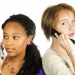 Teen girls with mobile phones — Stock Photo