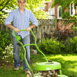 Man mowing lawn - Stockfoto