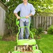 Stock Photo: Man mowing lawn