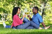 Glückliches Paar mit Wein im park — Stockfoto