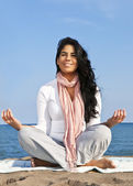 Young native american woman meditating — Stock Photo