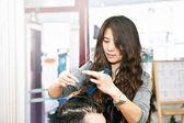 Hair stylist working — Stock Photo