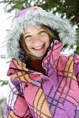 Happy winter girl in ski jacket — Stock Photo