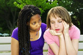Teenager consoling her friend — Stock Photo
