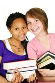 Tjejer hålla läroböcker — Stockfoto