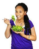 Girl having salad — Stock Photo