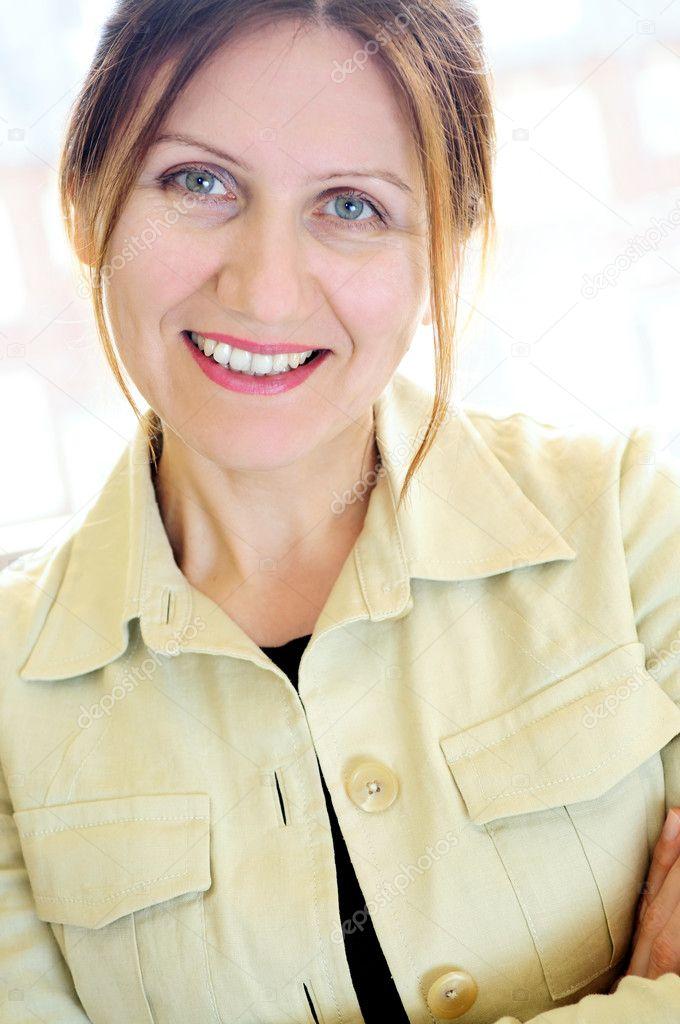 Portrait of a mature woman stock image