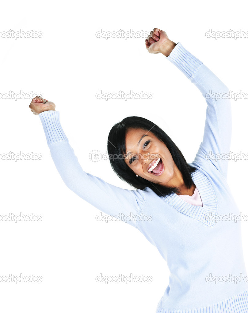 Happy black woman with raised arms isolated on white background  Stock Photo #4719168