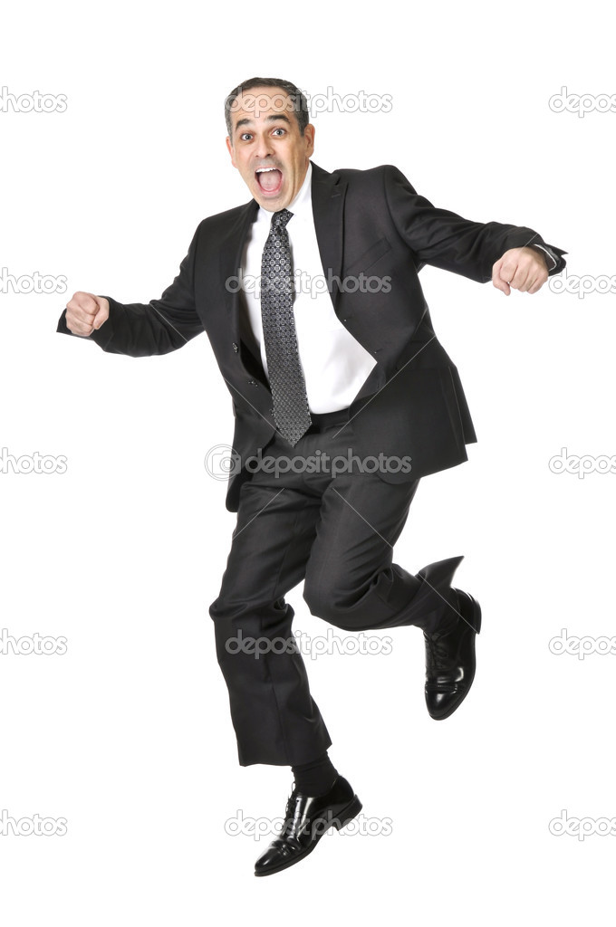 Jumping businessman in a suit isolated on white background  Stock Photo #4719898